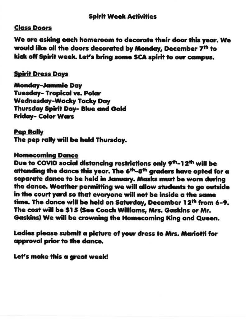 Spirit Week Activities & Instructions